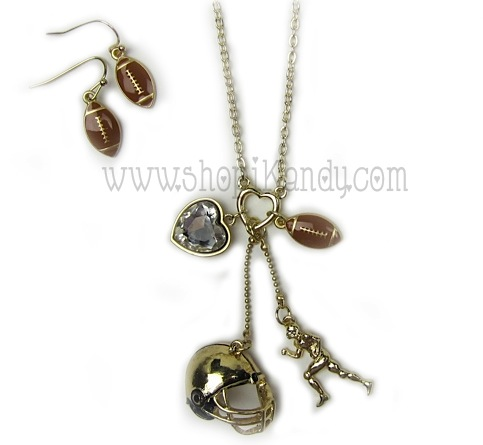 Football Charm Sports Necklace Set