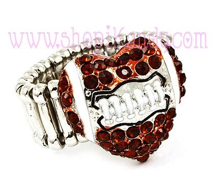 Football Heart Bling Sports Ring