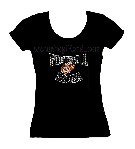 Adult Football Mom Bling T-shirt