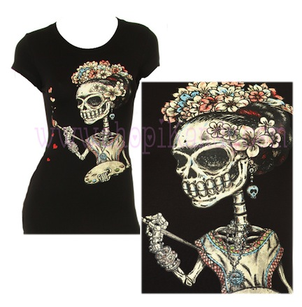 Frida Kahlo Painting Dia de los Muertos Fitted Shirt