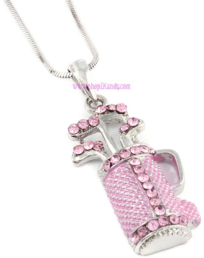 Pink Golf Bag Sports Necklace