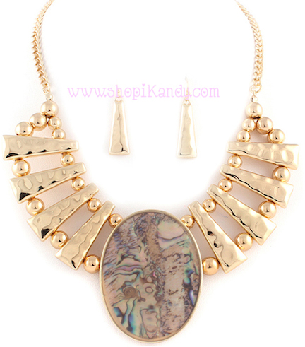 Hammered Abalone Necklace & Earring Set