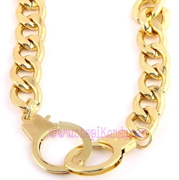Golden Handcuffs Metal Necklace