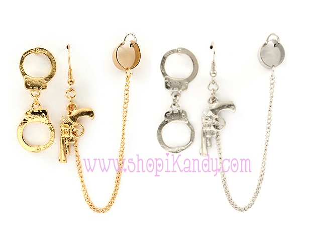 Handcuffs & Gun Ear Cuff Earrings