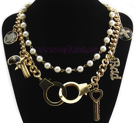 Handcuffs & Pearls Bad Girl Charm Necklace