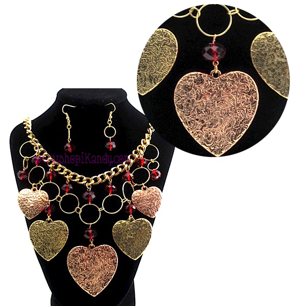 Charmed Hearts Double Layer Necklace Set
