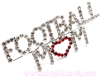 Heart Football Mom Bling Pin