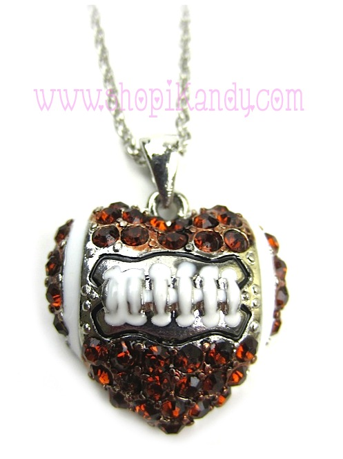 Football Heart Sports Necklace