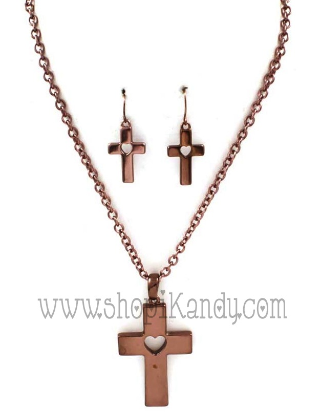 Heart & Cross Necklace Set