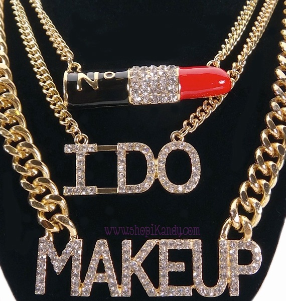 #J7594 Lipstick I DO MAKEUP 3 Layer Bling Necklace