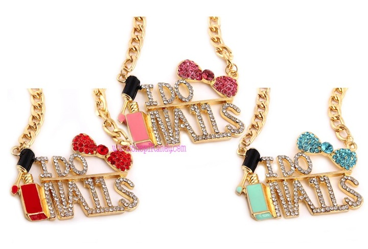 """I DO NAILS"" Nail Technician Bling Necklace"