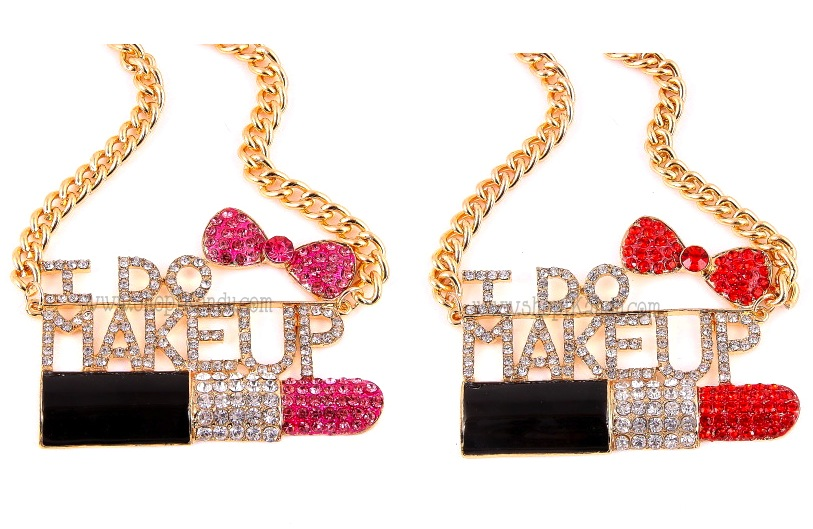 """I DO MAKEUP"" Makeup Artist Bling Necklace"