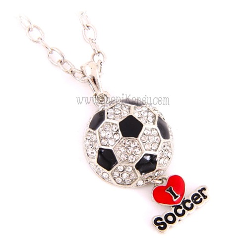 I Heart Soccer Bling Charm Necklace