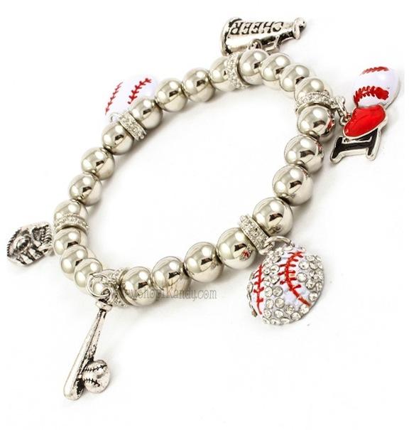 I Love Baseball Sports Charm Bracelet