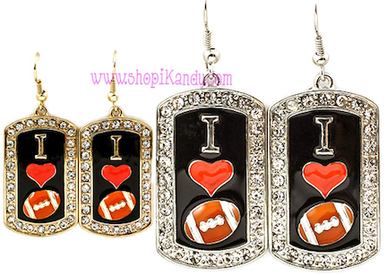 I Love Football Dog Tag Earrings