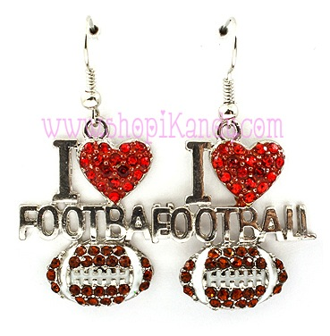 I Love Football Sports Earrings