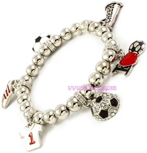 I Love Soccer Sports Charm Bracelet