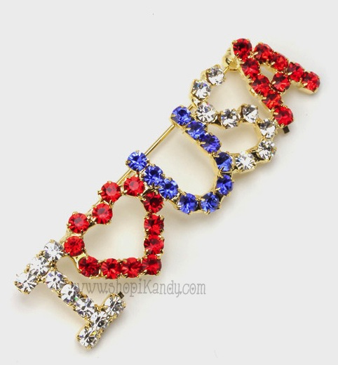 I Love USA Crystal Brooch & Pin