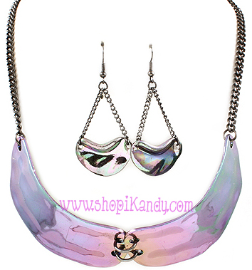 Iridescent Bib Necklace & Earring Set
