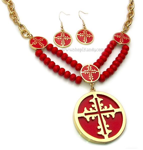 Isis Cross Disc Necklace Set