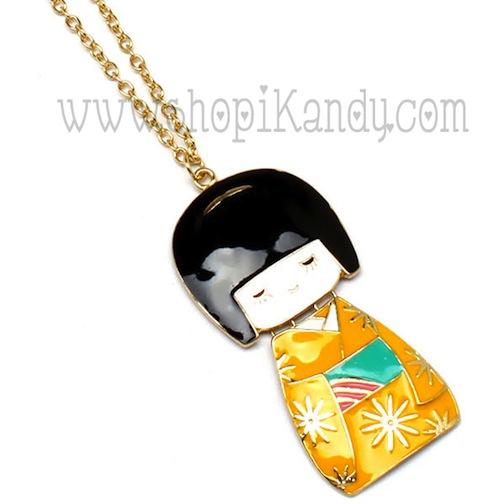 Kokeshi Kimono Girl Necklace
