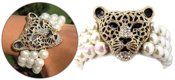 Leopard Face Pearl Bead Bracelet
