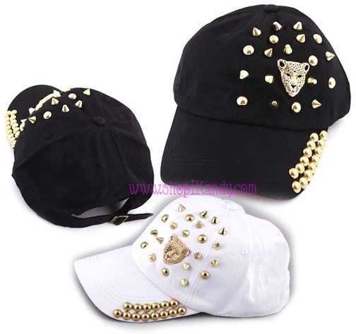 Leopard Head & Metal Studs Adult Hat