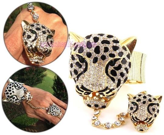 Rhinestone Covered Leopard Head Bracelet w/Ring