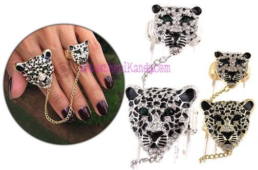 Leopard Head Double Ring
