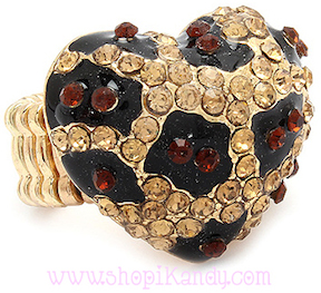 Leopard Print Crystal Heart Bling Ring
