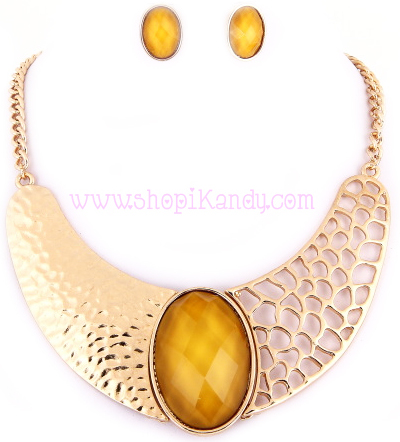 Golden Hammered Bib Necklace & Earring Set