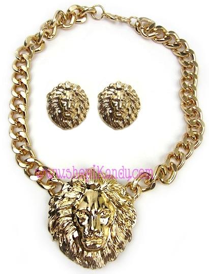 Oversized Lion Head Necklace & Earring Set