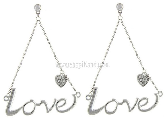 Love Word Dangle Earrings