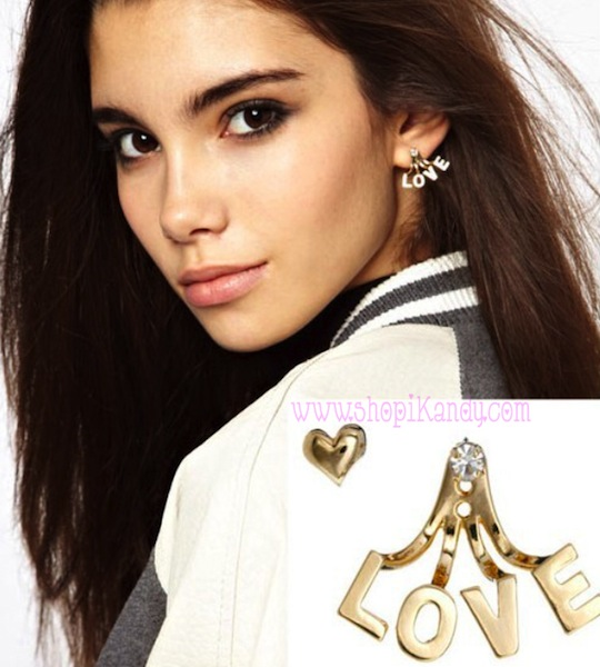 LOVE & Heart Stud Earring Set