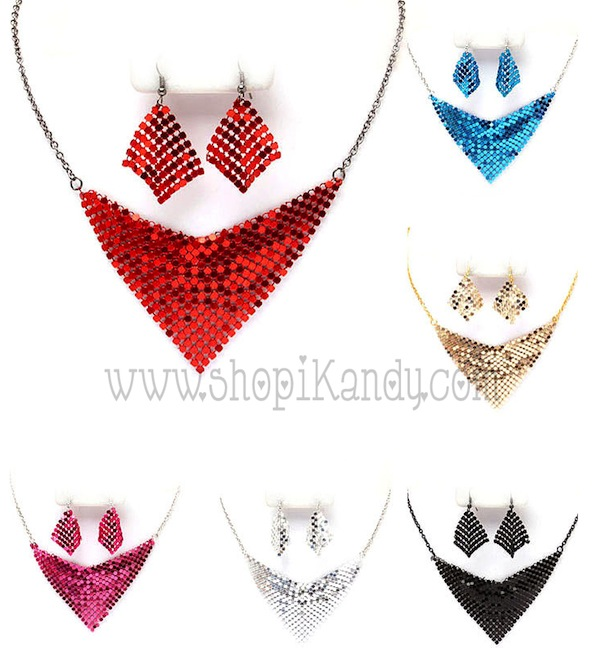Mesh Necklace & Earring Sets
