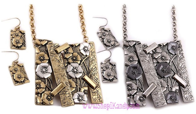 Metal Bar Flower Necklace & Earring Set