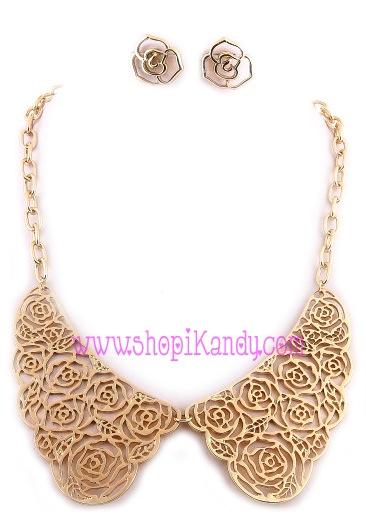 Flower Detail Collar Necklace & Earring Set