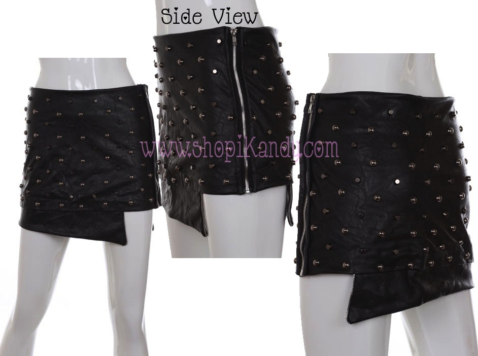 Metal Studded Zipper Mini Skirt