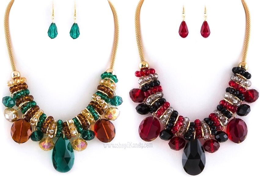 #J7575 Mixed Stone Statement Necklace Set