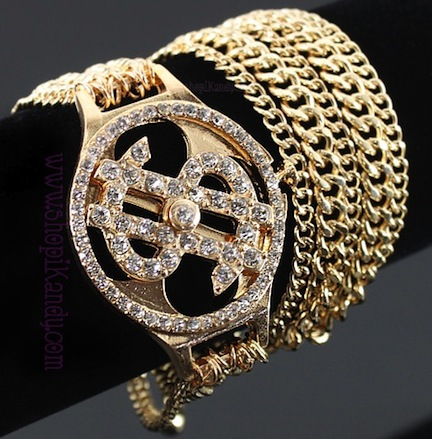 Bling Money $ign Chain Wrap Around Bracelet