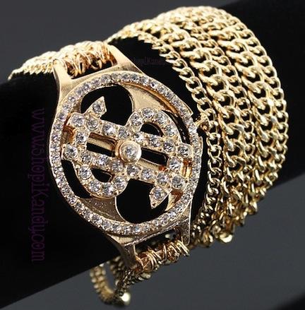Bling Money $ign Chain Wrap Around Bracelet