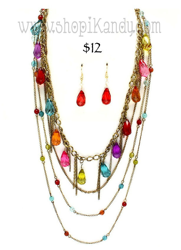 Multi Charm Necklace Set