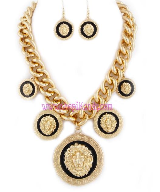 Chunky Multi Lion Charm Emblem Necklace & Earring Set