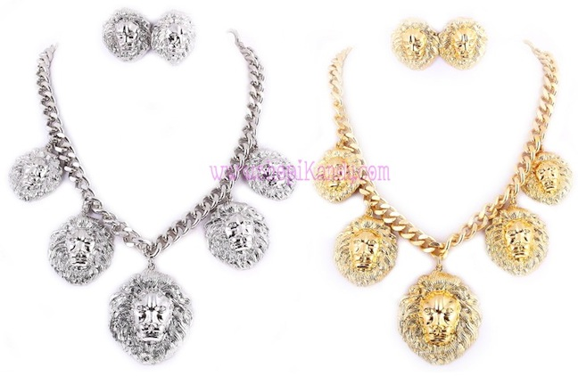 Multi Lion Head Pendant Necklace & Earring Set