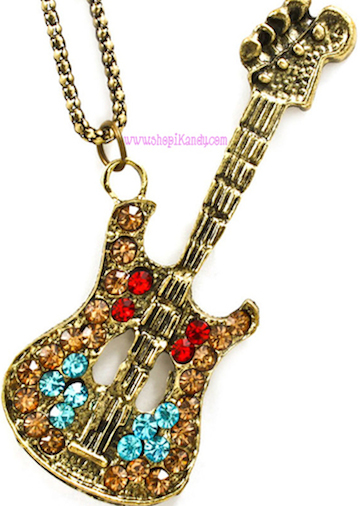 Antique Music Guitar Necklace