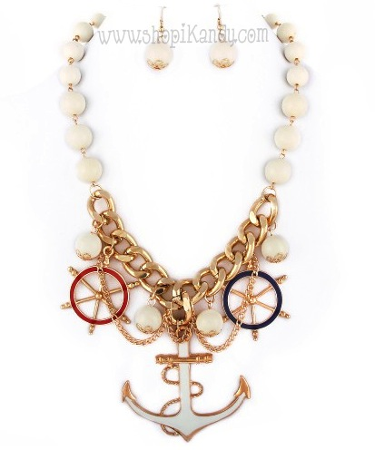 Nautical Anchor Charm Necklace & Earring Set