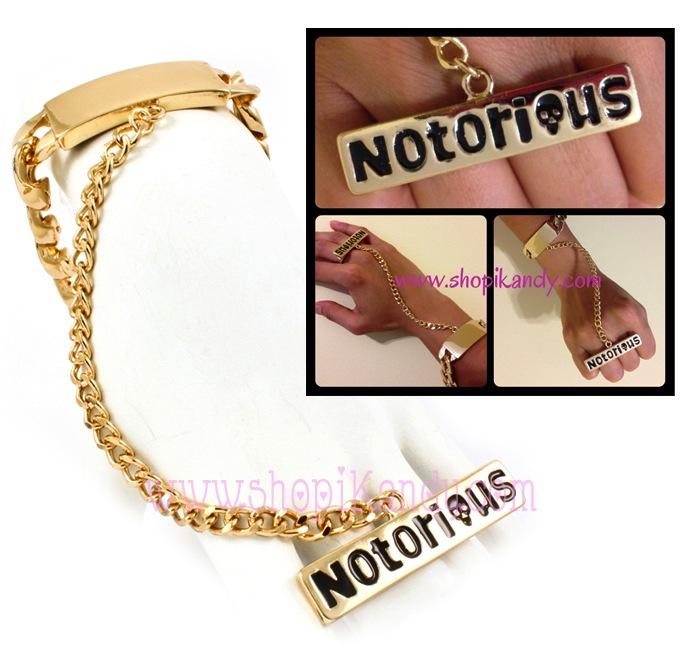 Notorious Chain Ringlet (Bracelet w/two Finger Ring)