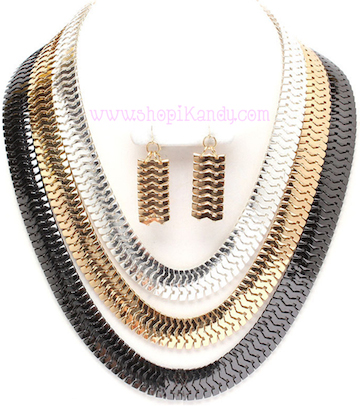 Multi Strand Ombre Necklace Set