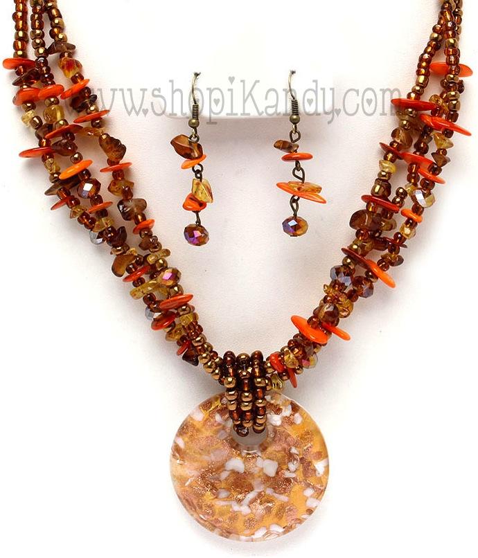 Trendy Fashion Glass Bead Necklace Set