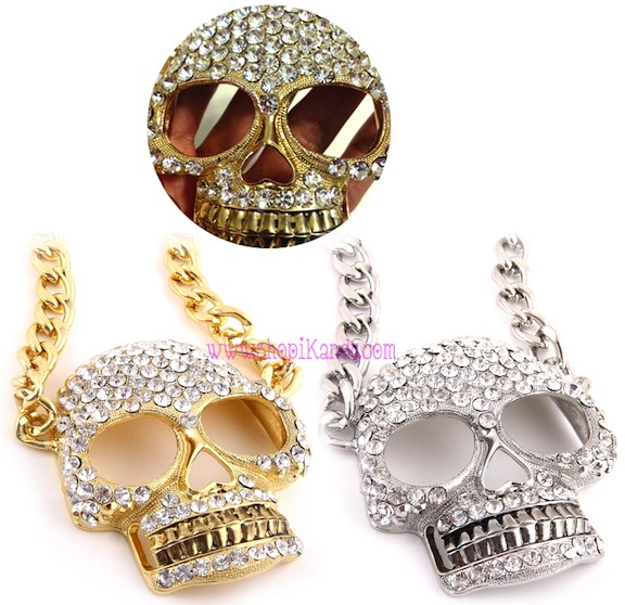 Unisex Oversized Bling Skull Necklace